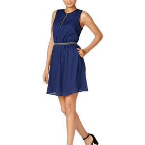 Maison Jules Crochet Trim Fit Flare Blue Dress